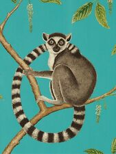 Sanderson Ringtailed Lemur Wallpaper DGLW216663 Teal