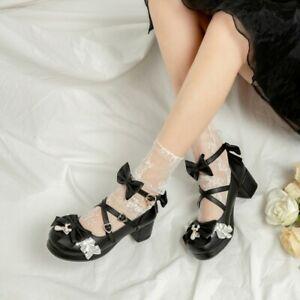 Women's Bowknot Mary Jane Shoes Girls Sweet Lolita Block Heels Round Toe Sandals
