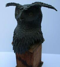 UNIQUE BRONZE METAL SCULPTURE WESTERN OWL BIRD  AMERICANA STATUE WILDLIFE FUNKY