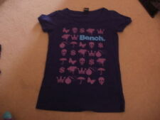 Ladies girls BENCH purple long t-shirt top with motif size medium M (approx 10)