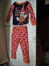 Disney Minnie Mouse Halloween Pajama Set Orange & Black 100% Cotton Size 3T VGC