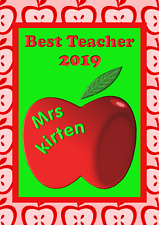 Best Teacher Thank You personalised A5 card name year