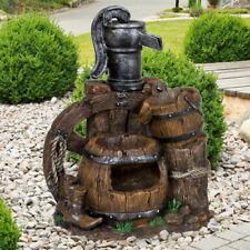 Brunnen Holzoptik Springbrunnen Wasserspiel Außenbereich Garten Veranda Terrasse