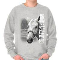 Country Strong Cute Horse Rodeo Cowgirl Western Cowboy Pullover Sweatshirt
