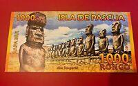 Easter Island Isla de Pascua 1000 Rongo Beautiful Fantasy Polymer Note (SAME AS