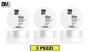 3 PEZZI L'OREAL TECNI ART FIX POLISH 75ml CERA GEL ALL'ACQUA WAX HOLD E SHINE