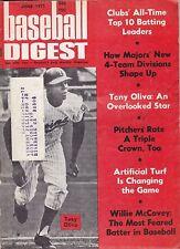 JUNE 1971 BASEBALL DIGEST MINNESOTA TWINS TONY OLIVA ON COVER