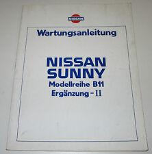 Werkstatthanbuch Ergänzung Nissan Sunny B11 / B 11 Stand Juni 1984!