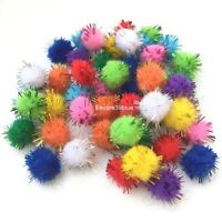 POM POMS Glitter Craft 10 Mixed Colours 15mm Finest Top Quality Halloween Xmas