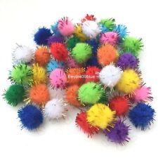 50 Stück Glitter Pom Poms Handwerk TINSEL Fluffy Pompoms Bälle Mischfarben