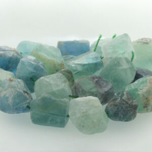 "15"" Natural Raw Rough Gemstone Green Fluorite Freeform Beads 20-25mm Mid Drilled"
