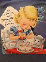 #1050🌟Vintage 1949 Childrens LITTLE GIRL KITTEN GLITTER Cake Hallmark Card Bday