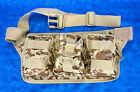 Unisex Canvas Desert Camo Adjustable 3 Pocket Fanny Pack Waist Bag Belt