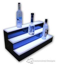 "30"" 3 Step Tier Led Lighted Shelves Illuminated Liquor Bottle Display Free Ship"