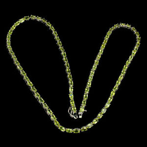Unheated Oval Peridot 5x3mm White Gold Plate 925 Sterling Silver Necklace 18.5