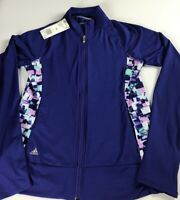 Adidas Golf Jacket Womens XS Lightweight Purple Zip Pocket Running Fitness NEW
