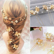 2x Wedding Hair accessories Gold Leaf Hair Pins  pearl Bridal Bride Flower Girl