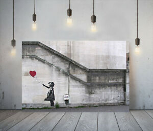 BANKSY GIRL HEART BALLOON -DEEP FRAMED CANVAS WALL ART PICTURE PAPER PRINT- RED