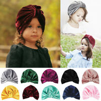 Newborn Toddler Kids Baby Boy Girl Indian Turban Knot Soft Velvet Beanie Hat Cap