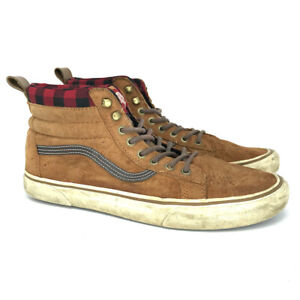 Vans Mens Off The Wall 721454 Brown Suede Leather Sneakers Shoes Size 11.5