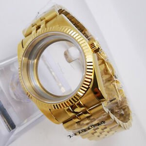 36mm Parnis Sapphire glass watch case + strap fit miyota 8215,eta 2836 movement