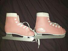 Lake Placid Star Glide Girls Pink & White Double Runner Ice Skates Sz J12 ec