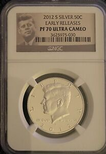 2012 S Silver Proof Kennedy Half Dollar   NGC PF 70 Ultra Cameo Early Release