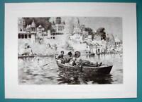 INDIA Last Voyage Deceased Boat on Ganger River - 110+ Years Old Antique Print