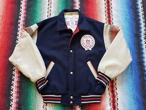 Vintage 80's USA OLYMPICS Training Center Varsity Jacket Wool Leather Size Large