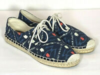 J Crew Espadrilles Lace Up Sneakers Blue Casual Shoes Size 8