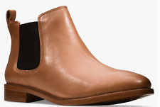BNIB Clarks Ladies Taylor Shine Tan Leather Chelsea Boots