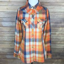 BKE Buckle Womens Plaid Button Down Shirt Sz S Orange Western Distressed Fitted