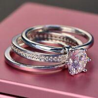 Luxus Braut Hochzeit Ring Echt Silber 925 Zirkon Stein Damen Ringe Geschenk Neu.