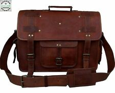 Real Goat Leather Shoulder Messenger Bag Laptop Satchel Sling Office Briefcase