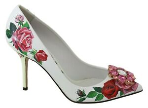 DOLCE & GABBANA Shoes White Leather Roses Crystal Pumps EU39 / US8.5