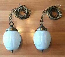 VTG ANTIQUE HANGING RIBBED GLASS SWAG LAMP LIGHT FIXTURE CHAIN CLOTH WIRE PAIR