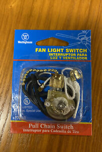 Westinghouse Fan Light Switch w/ Antique Brass Chain Replacement Two Wire