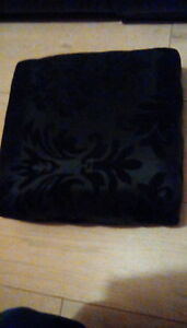 Footstool Fabric seat low foot wooden footrest black floral fabric Padded top