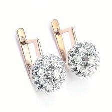 Russian Style Jewelry Malinka Diamond Earrings 1.60 CWT G-SI1 14k 585 #E918