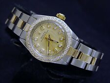 Lady Rolex 2Tone 14K Gold/Stainless Steel Oyster Perpetual w/Diamond Dial/Bezel