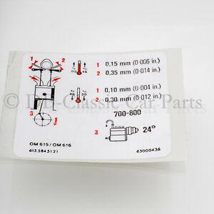 MERCEDES Aufkleber für Ventildeckel Motor OM615 OM616 Ventilspiel Ventile