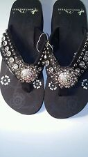 Montana West Women Flip Flops Wedged Bling Sandals Large Floral Concho Black