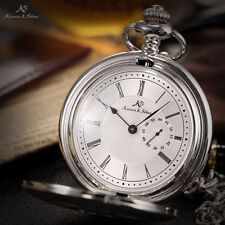 Half Hunter Silver Plated Pocket Watches with Roman Numerals