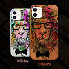 Hipster Lion Wood Case iPhone 13/12/11/11 Pro/Max/Mini, X/XR/XS Max