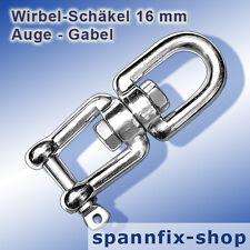 Wirbel-Schäkel 16 mm Auge-Gabel A4 Edelstahl Niro Wirbelschäkel Schäkel LOXX