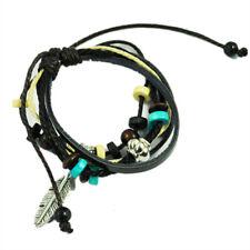 New Bohemian Vintage Style Feather Beads Leather Bracelet Adjustable Wristb Y8C4
