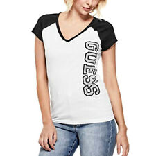 New GUESS Women's Sparkly Diamonte V Neck Logo T Shirt  Size Small