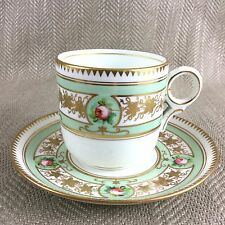 Antique Demitasse Teacup  Cup & Saucer Hand Painted Duo Porcelain China Rose Vtg