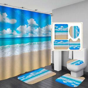 Blue Sky Sea Shower Curtain Bath Mat Toilet Cover Rug Scenery Bathroom Decor
