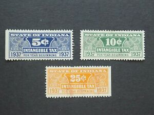 (3) Used 1937 State of Indiana revenue Tax stamps-5c, 10c and 25 cents